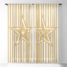 The Greatest Star - Golden Yellow Stripes Sheer Curtain