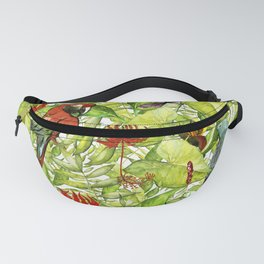 My tropical Summer Flowers and Birds Garden - Jungle Pattern Fanny Pack