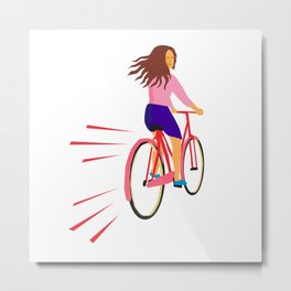 Girl Riding Vintage Bicycle Retro Metal Print