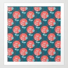 Floral Pattern   Living Coral on Dark Blue Art Print