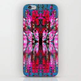 FUCHSIA PINK HOLLYHOCKS IN BLUE WATER REFLECTION iPhone Skin