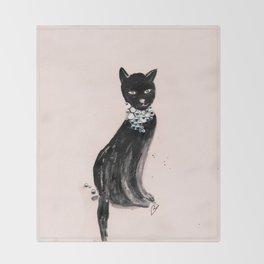 Spoiled Kitty Lifestyle Illustration Throw Blanket