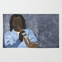 trumpet Area & Throw Rugs featuring Trumpet player by Aquamarine Studio