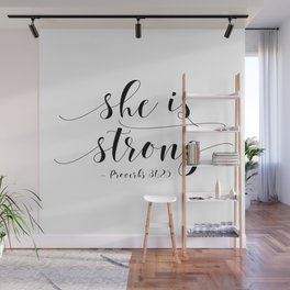SHE IS STRONG, Proverbs 31 : 25,Nursery Girls,Gift For Her,Women Gift,Feminism Gift,Bedroom Decor Wall Mural