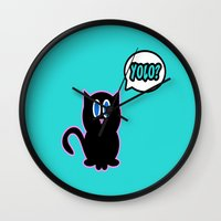 yolo Wall Clocks featuring Yolo? by Marvin Porcher
