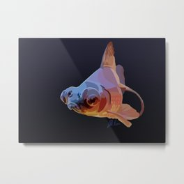 Grumpy Goldfish in Blue and Gold Metal Print