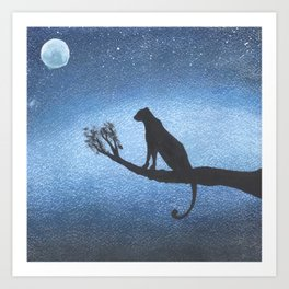 Leopard on a tree in the jungle in a bright starry night Art Print