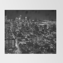Seattle from the Space Needle in Black and White Throw Blanket