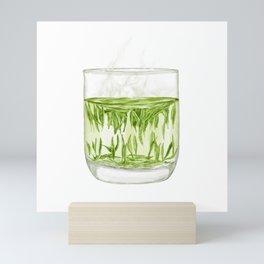 Watercolor Illustration of A glass of Chinese Maojian green tea Mini Art Print