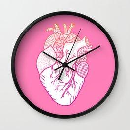 Designer Heart Pink Background Wall Clock