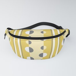 Circles and Stripes in Mustard Yellow and Gray Fanny Pack