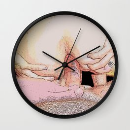 NSFW! Adult content! Cartoon play, sexy redhead gap, anal playing comic illustration - penetration Wall Clock