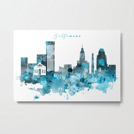 Baltimore Monochrome Blue Skyline Metal Print