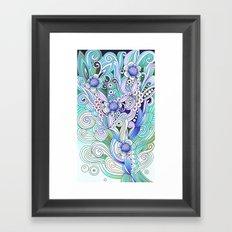 Flower fire, bright blues Framed Art Print