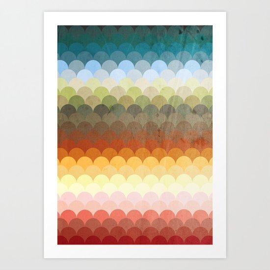 Half Circles Waves Color (2013) Art Print