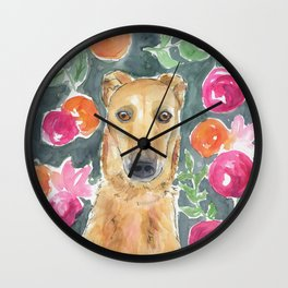 Whippet in the flowers Wall Clock