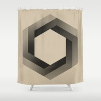 psychology Shower Curtains featuring Bequiz sepia by Bequiz