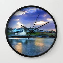 Cockle Row Cottages, Ireland. (Painting) Wall Clock