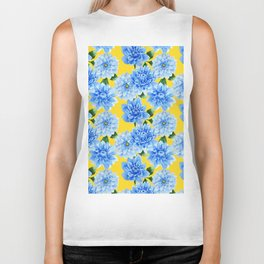 Elegant blue yellow watercolor hand painted floral Biker Tank