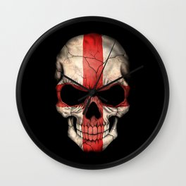 Dark Skull with Flag of England Wall Clock