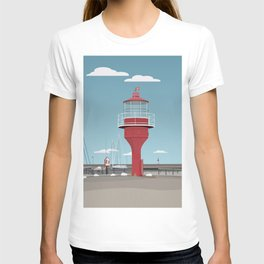 The lighthouse in the harbour in Skanor - light T-shirt