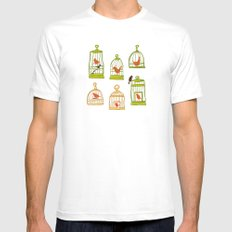 Bird Cages on Green Mens Fitted Tee MEDIUM White