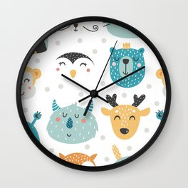 Baby Animals - Fantasy and Woodland Creatures Pattern Wall Clock