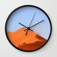 never stop exploring Wall Clocks featuring Never Stop Exploring by General Design Studio