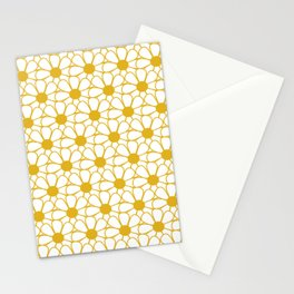 Polka Dot Daisies - Cheerful Retro Geometric Floral Pattern in Mustard and White Stationery Cards
