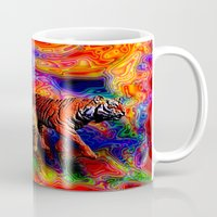 tigers Mugs featuring Psychedelic Tigers by JT Digital Art
