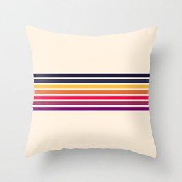 Imera - Classic 70s Vintage Style Retro Stripes Throw Pillow