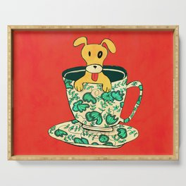 Dinnerware Sets - puppy in a teacup Serving Tray