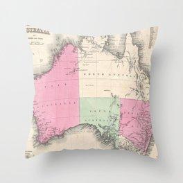 Vintage Map of Australia (1862) Throw Pillow