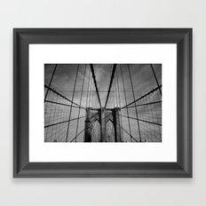 New York City, Brooklyn Bridge B/W Framed Art Print