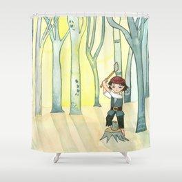 Hansel Chopping Wood Shower Curtain