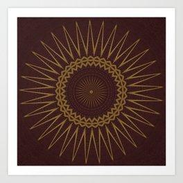 Golden Star Burgundy Wine Mandala Art Print