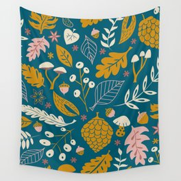 Fall Foliage in Blue and Gold Wall Tapestry