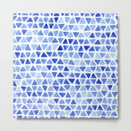 Triangle Watercolor Seamless repeating Pattern - Blue Metal Print