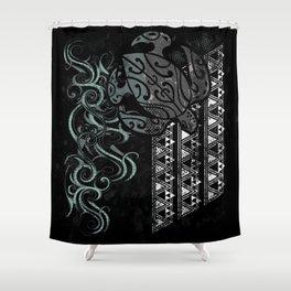 Slate Polynesian Tribal Turtle Grunge Shower Curtain