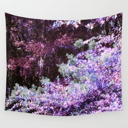 Purple Green Leaves Wall Tapestry