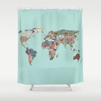 louis armstrong Shower Curtains featuring Louis Armstrong Told Us So (teal) by Bianca Green