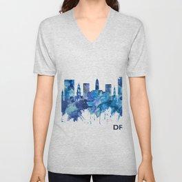 Dresden Germany Skyline Blue Unisex V-Neck