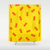 hot dog Shower Curtains featuring HOT DOG by SUPAKID