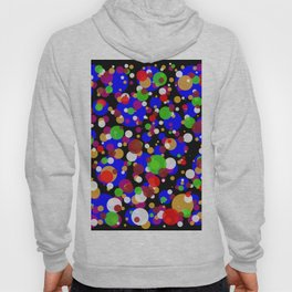 Numerous bubbles of different sizes and different colors on a black background Hoody