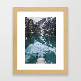 A staircase leading to the water in an mountain lake in the Dolomites Framed Art Print