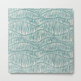 Abstract Soil Layers in Teal Metal Print