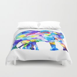 Colorful family elephants Duvet Cover