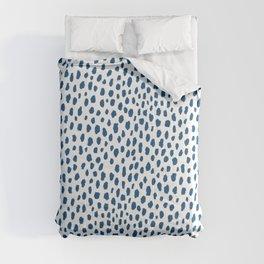Handmade Polka Dot Paint Brush Pattern (Pantone Classic Blue and White) Comforters