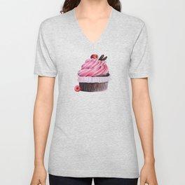 Chocolate Raspberry Cupcake Unisex V-Neck