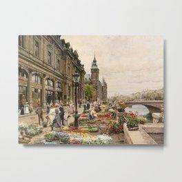 Parisian Flower Market on the River Seine by Girmin-Girard Metal Print